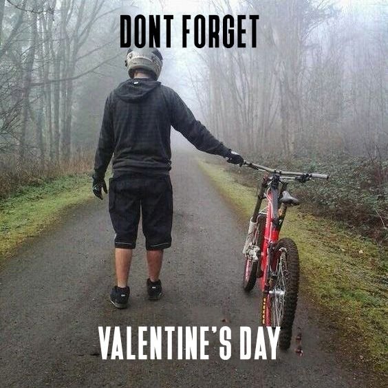 Dont Forget To Take It Your Bike For A Ride On Valentine S Day Avoid Jealous People And Go For It Mountianbik Bike Meme Cycling Memes Mountain Biking Quotes