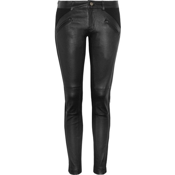 Vanessa Bruno Athé Stretch-leather skinny pants (1.125 BRL) ❤ liked on Polyvore featuring pants, jeans, bottoms, calças, leather, genuine leather pants, leather pants, stretch pants, stretchy leather pants and stretch leather pants