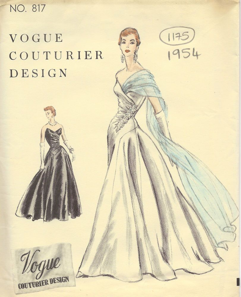 1954 Vintage VOGUE Sewing Pattern B32 DRESS EVENING GOWN (1175 ...