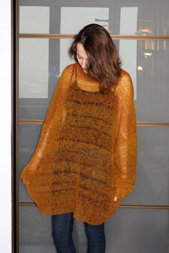 d89e70fcc31 Long mohair mustard sweater Oversized hand knit jumper fuzzy ...