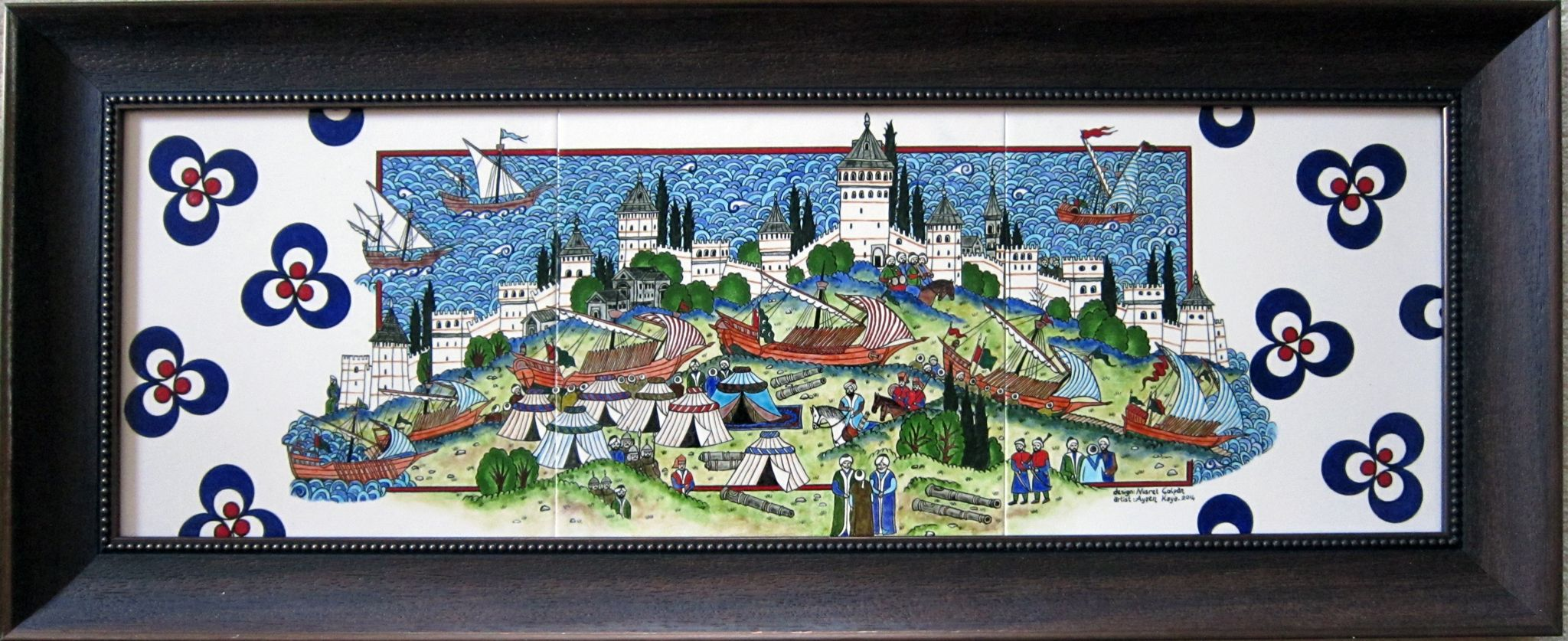 25x75 cm minyatür çini pano Tile art, handmade, miniatures