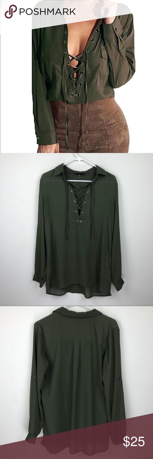 b86110906c Sexy · Sheer Chiffon · Olive Lace Up Chiffon Long Sleeve Blouse Sz. L Lace  Up Chiffon Long Sleeve Blouse