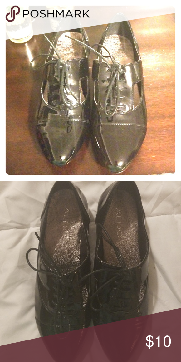 8b7fdb70632 Aldo Black shiny lace up shoes Super cute comfy. Aldo shoes. Lace up.  Little cute cut out on the side. Aldo Shoes Flats   Loafers