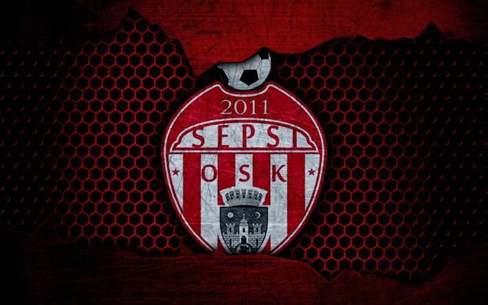 Lataa kuva Sepsi OSK, 4k, logo, Liga 1, jalkapallo, football club, Liga -, Romania, grunge, metalli rakenne, Sepsis FC OSK