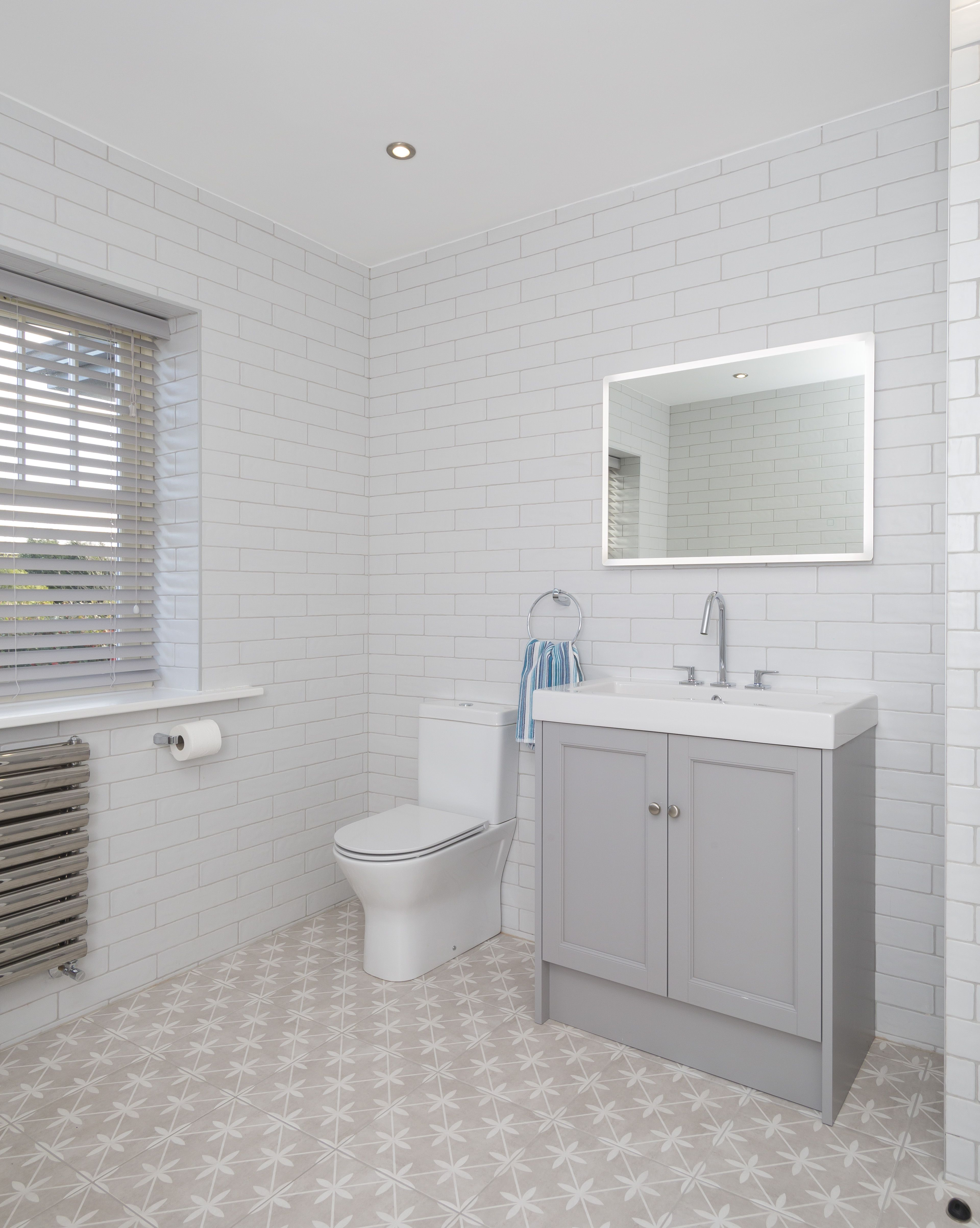 Looking For A Pattern Tile That Is Less Brash And More Subtle Laura Ashley Wicker Dove Grey Is The Wa Laura Ashley Bathroom Tiles Small Bathroom Tile Bathroom