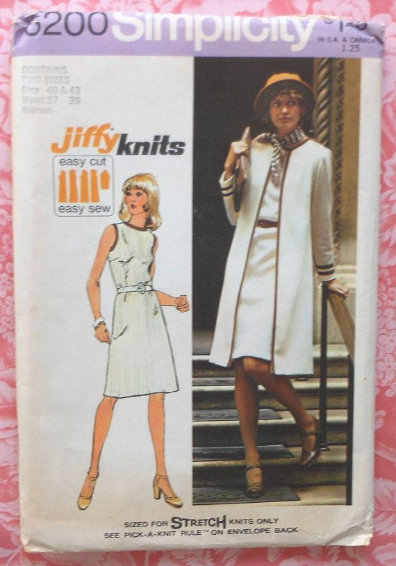 Vintage Coat and Dress Sewing Pattern UNCUT Simplicity 6200 Size 40 ...