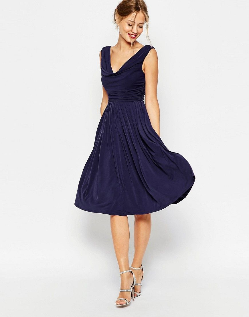 Image 1 Of Asos Wedding Cowl Neck Midi Dress