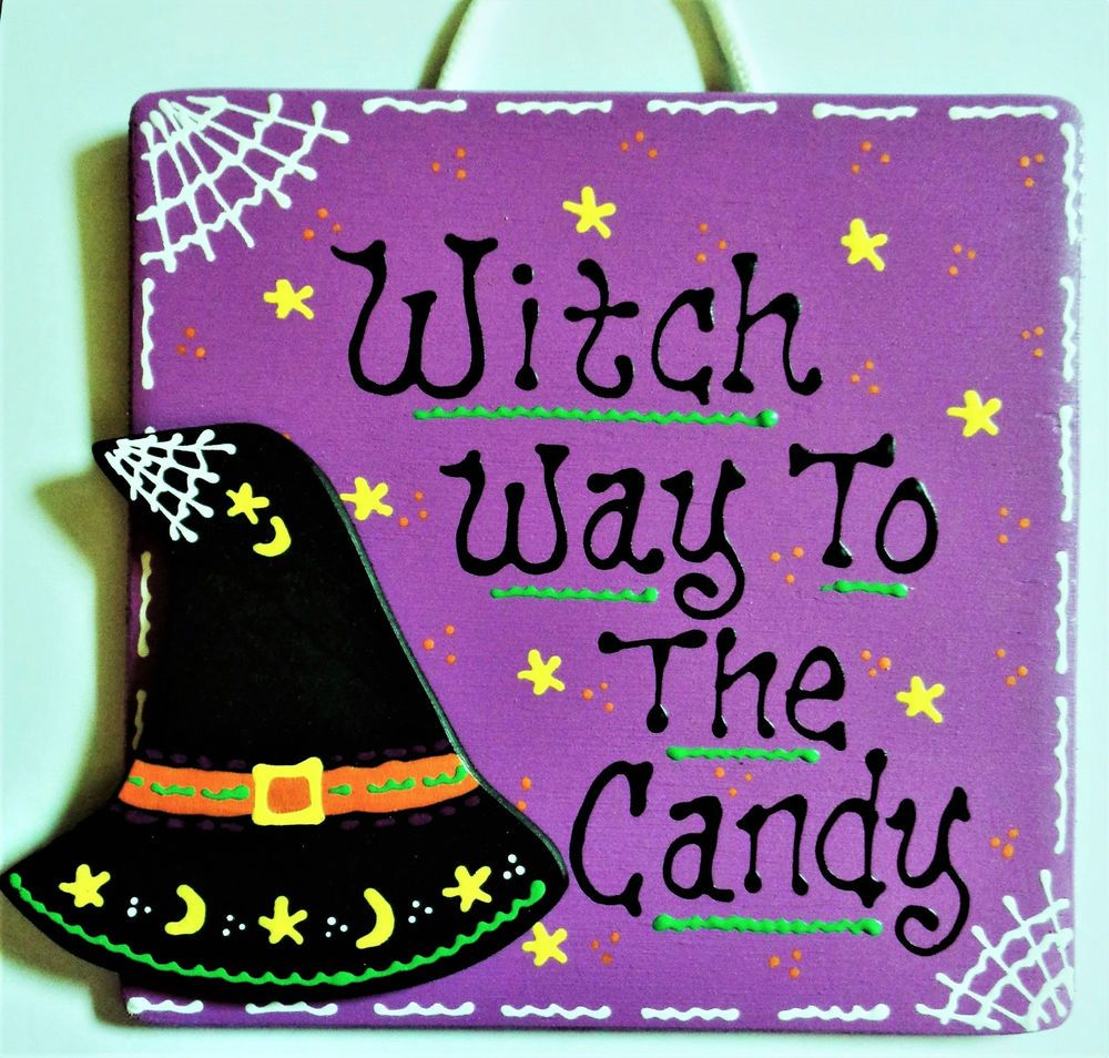 WITCH WAY TO THE CANDY Sign Halloween Hat Holiday Seasonal