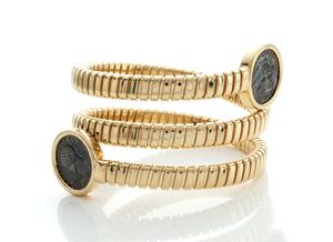18K Yellow Gold Plated and Sterling Silver Coil Wrap Bracelet with Two Bronze Original Roman Coins