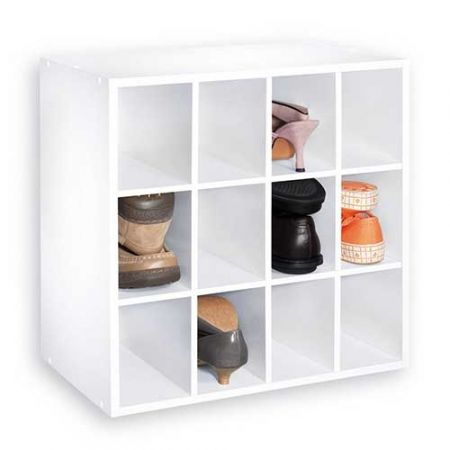 Howards Storage World 12 Cube Shoe Closet Organiser In White
