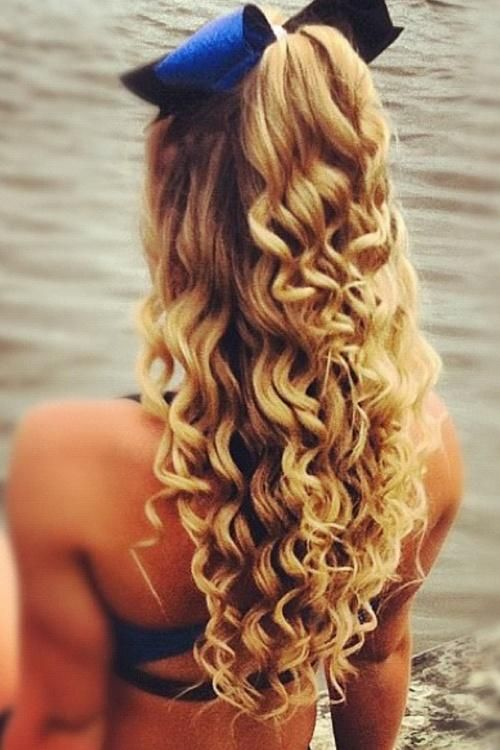 Long Blonde Curly Hair Half Up Down Bow
