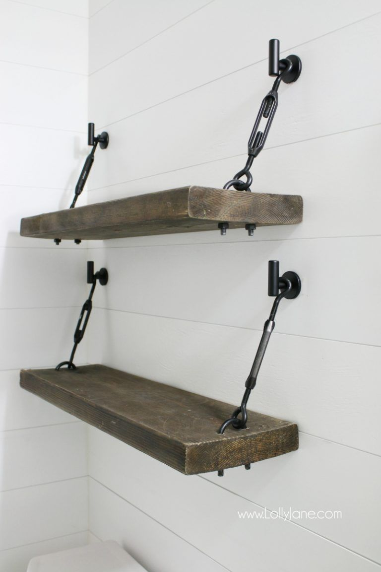 WOW! Check out these pretty diy turnbuckle shelves!! Tutorial for an easy diy turnbuckle hardware kit included! Adore this farmhouse bathroom shelves! #style #shopping #styles #outfit #pretty #girl #girls #beauty #beautiful #me #cute #stylish #photooftheday #swag #dress #shoes #diy #design #fashion #homedecor