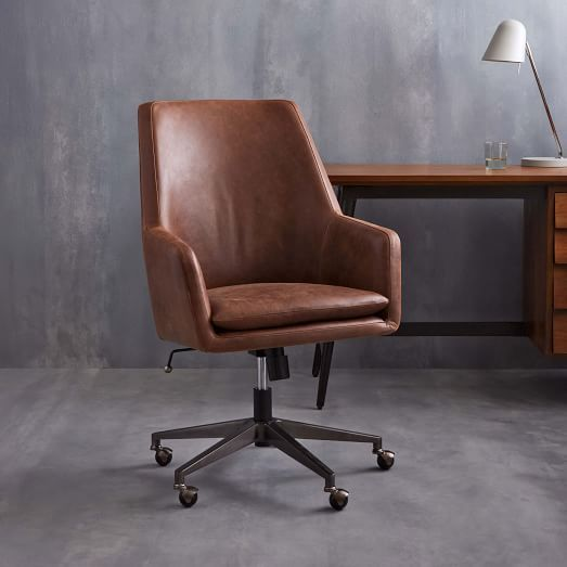 High Back Helvetica Leather Desk Chair Office 559 West Elm 27 5 W X 25 D 39 H