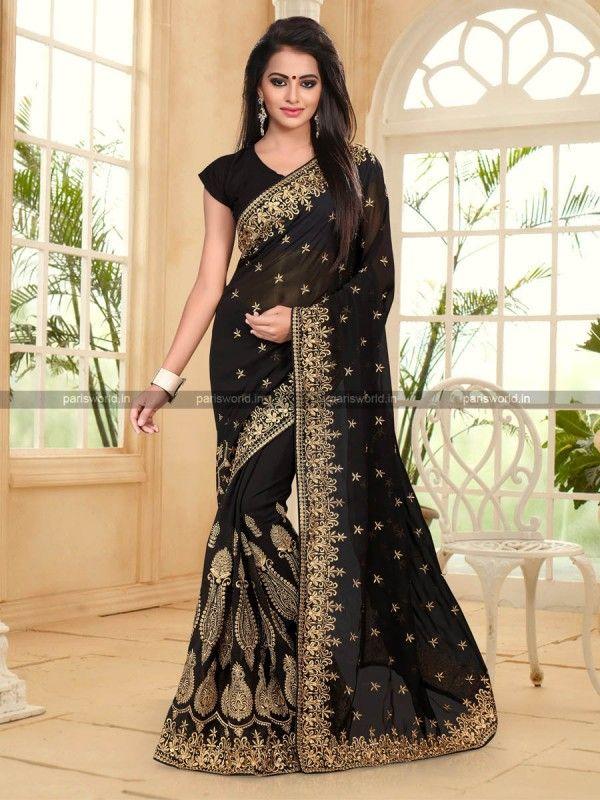 Black Georgette Lovely Designer Saree