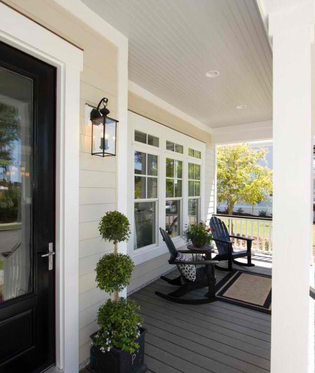 47 Cool Small Front Porch Design Ideas: Tan Ext, Black Door, White Trim