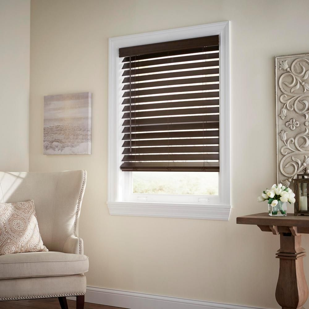Home Decorators Collection Espresso Cordless Room Darkening 2 5 In Premium Faux Wood Blind For Window 21 5 In W X 72 In L 10793478402076 The Home Depot Faux Wood Blinds Wood Blinds Home Decorators Collection