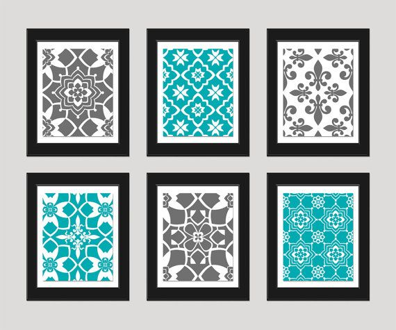 Grey Turquoise Wall Art Print Set, Vintage / Modern, Home ...