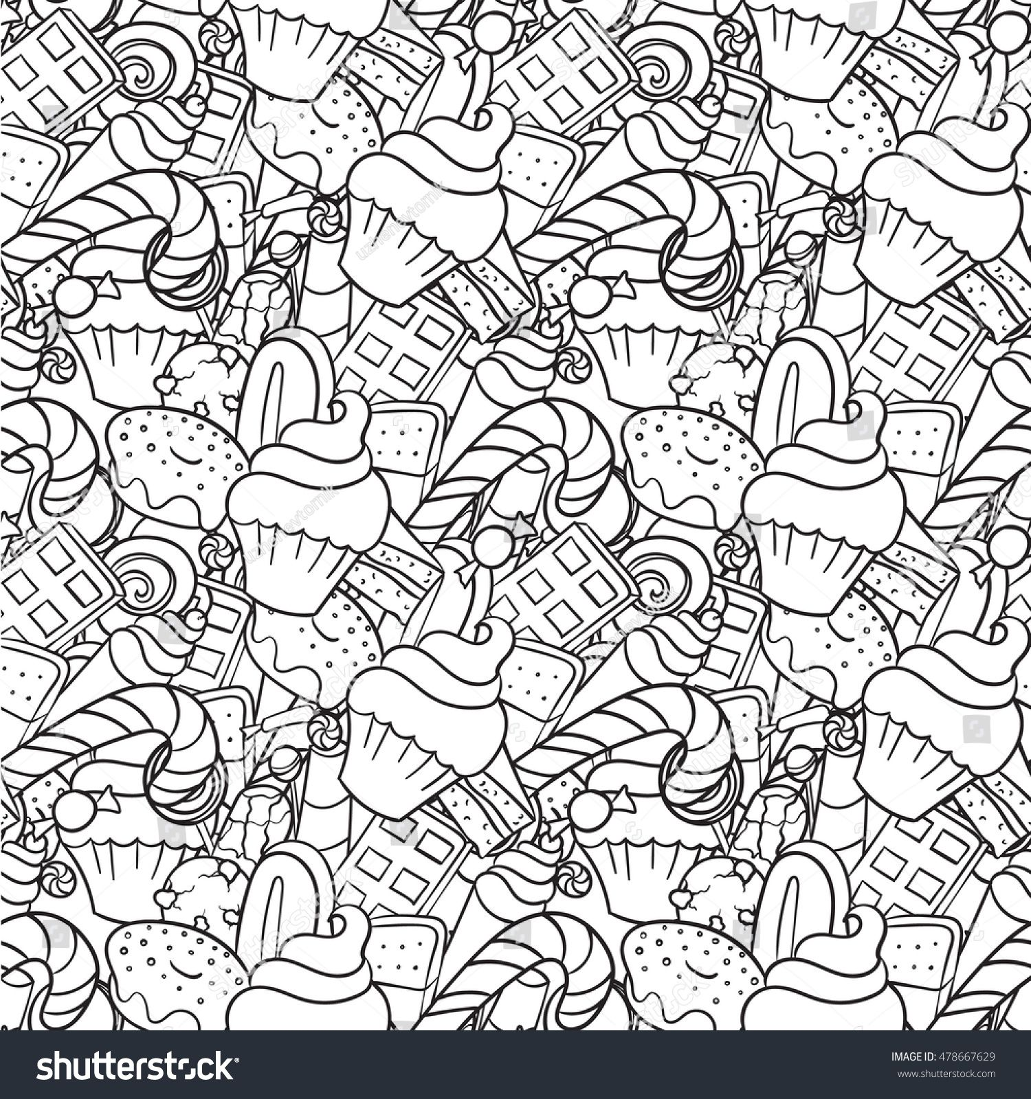 Doodle sweets. Seamless pattern. Vector hand drawn