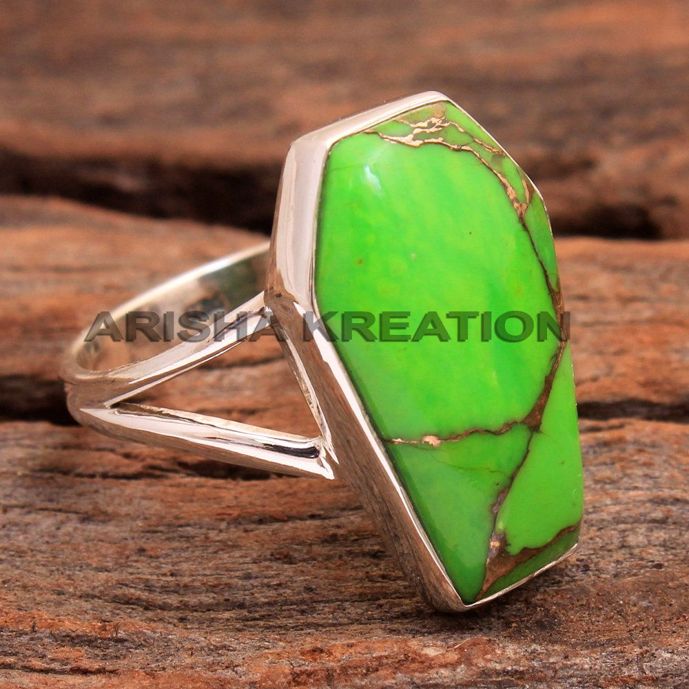 Cyber Monday Gift Green Copper Turquoise Coffin Shape Gemstone Ring 925 Sterling Silver Handmade Designer Ring Jewelry Us Size 8 Ar6064 In 2020 Green Copper Cyber Monday Gifts Gemstone Rings