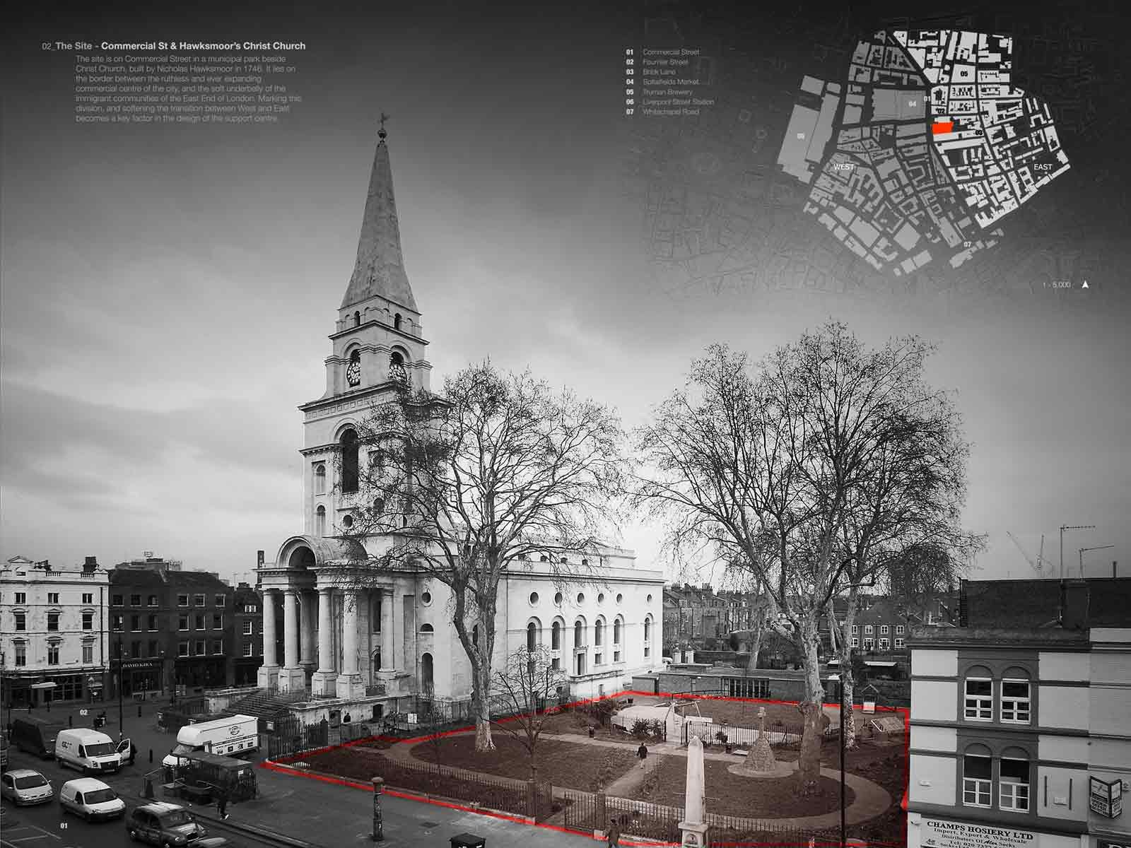 Christ Church, Spitalfields. London. Nicholas Hawksmoor, architect.
