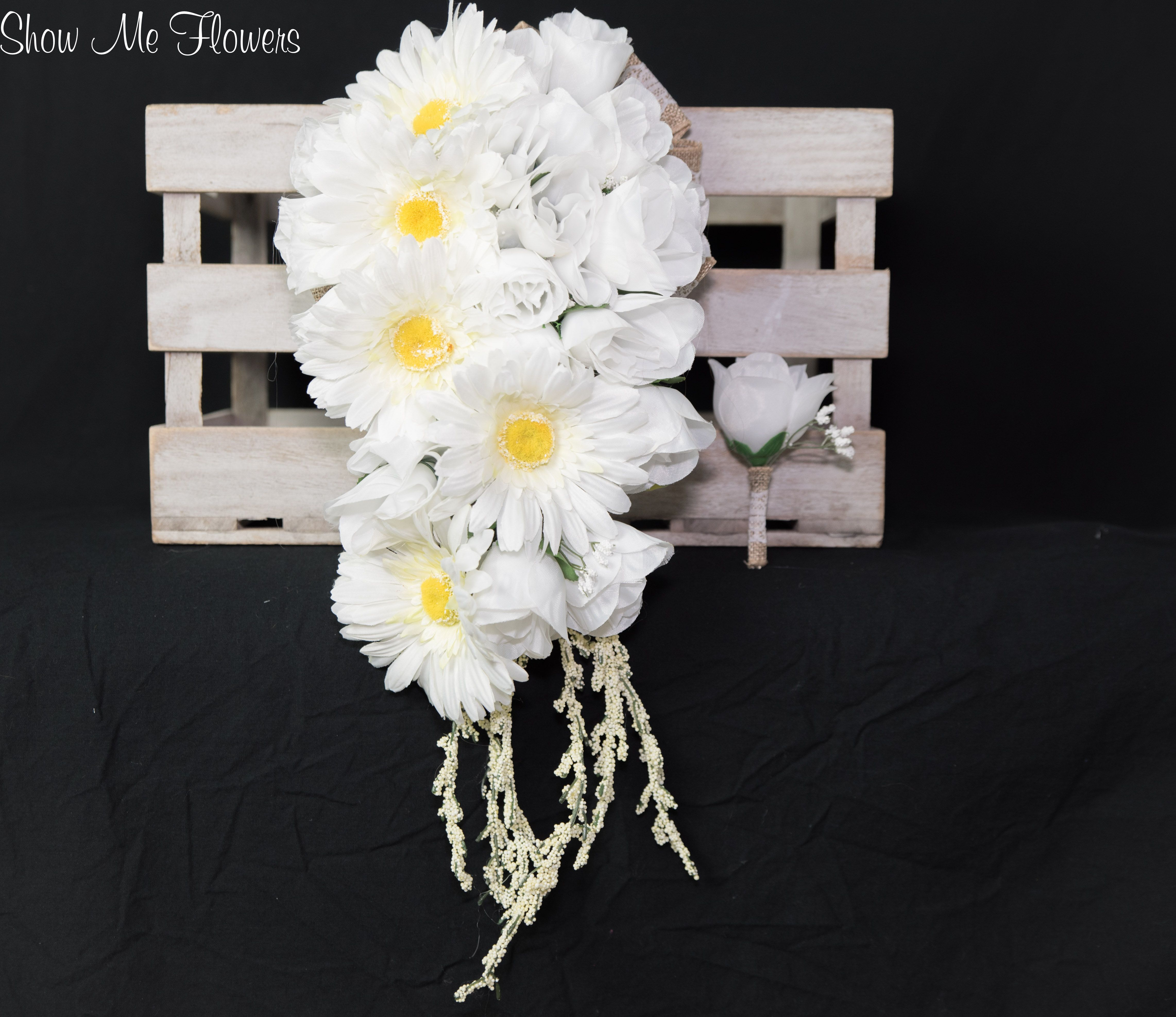 Cascading Gerbera Daisy Rose Burlap and Lace White Bride