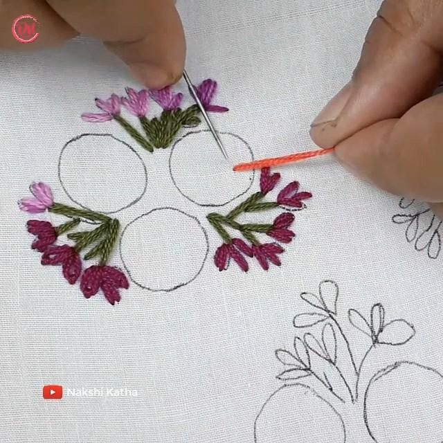 hand embroidery all over design for dress