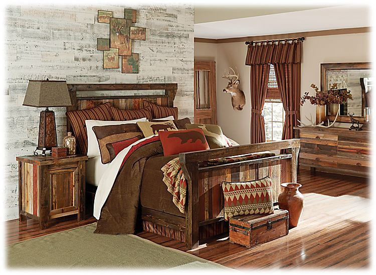 Barnwood Bedroom Furniture Collection Wood Bed | Mountain Lodge ...