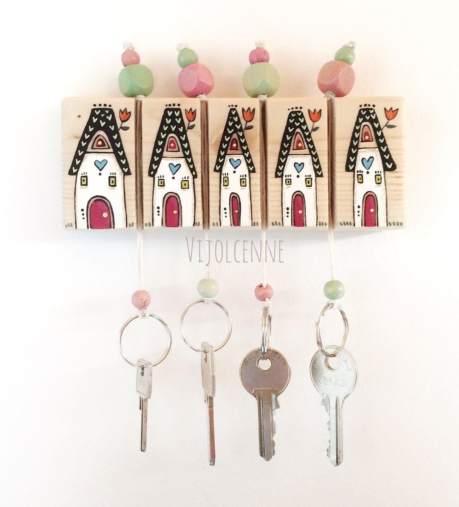 Key Holder Wall Hooks Wood Key Holder Wall Decor Wall Hanging Key Holder Artigianato In Pietra Parete Artigianato
