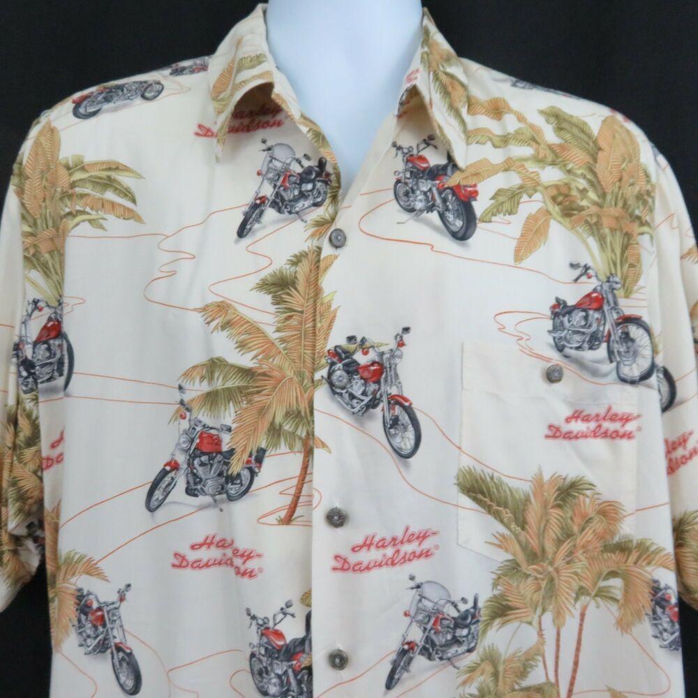b3ed89d53b3 Harley Davidson Mens L Tropical Motorcycle Aloha Hawaiian Shirt Tori ...