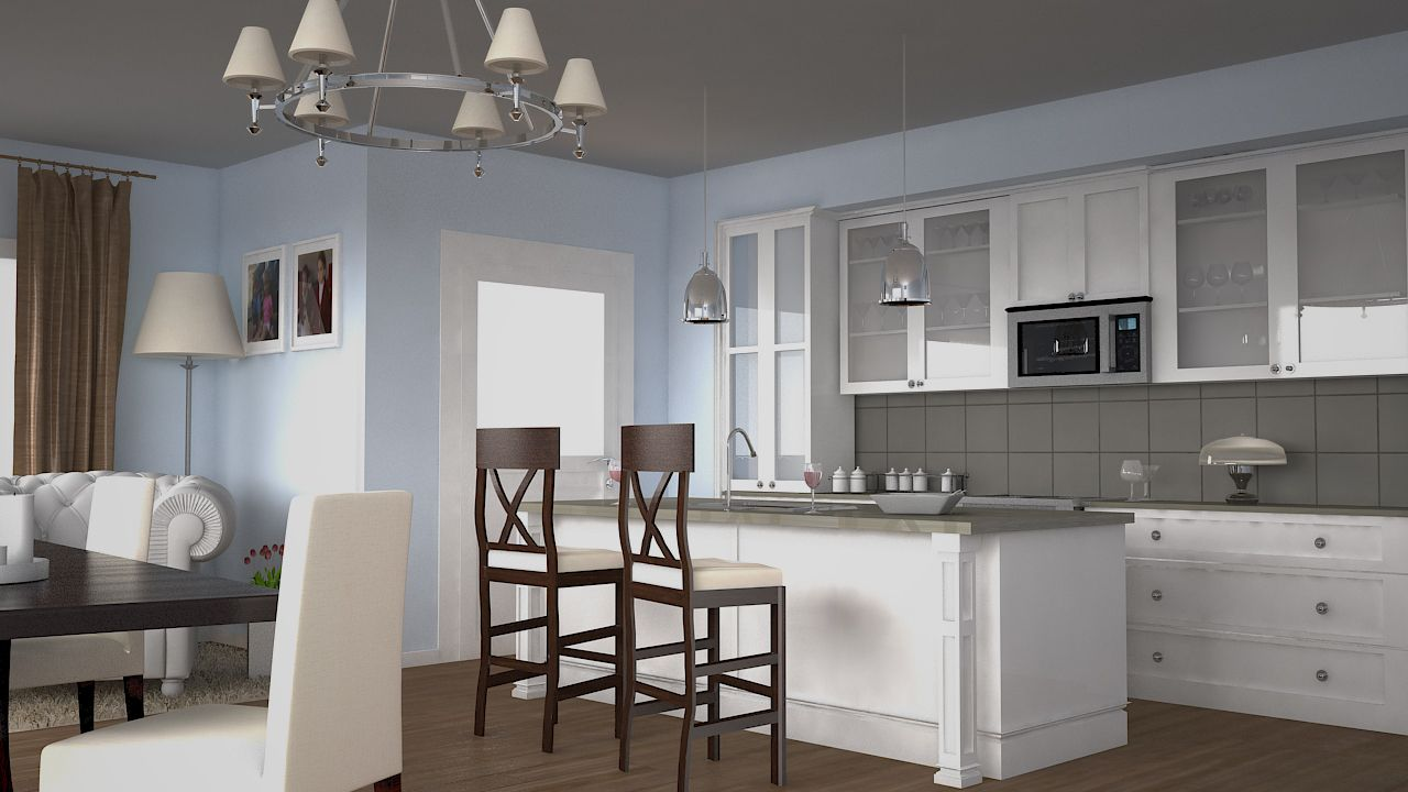 render cocina americana idea de houzz interiores