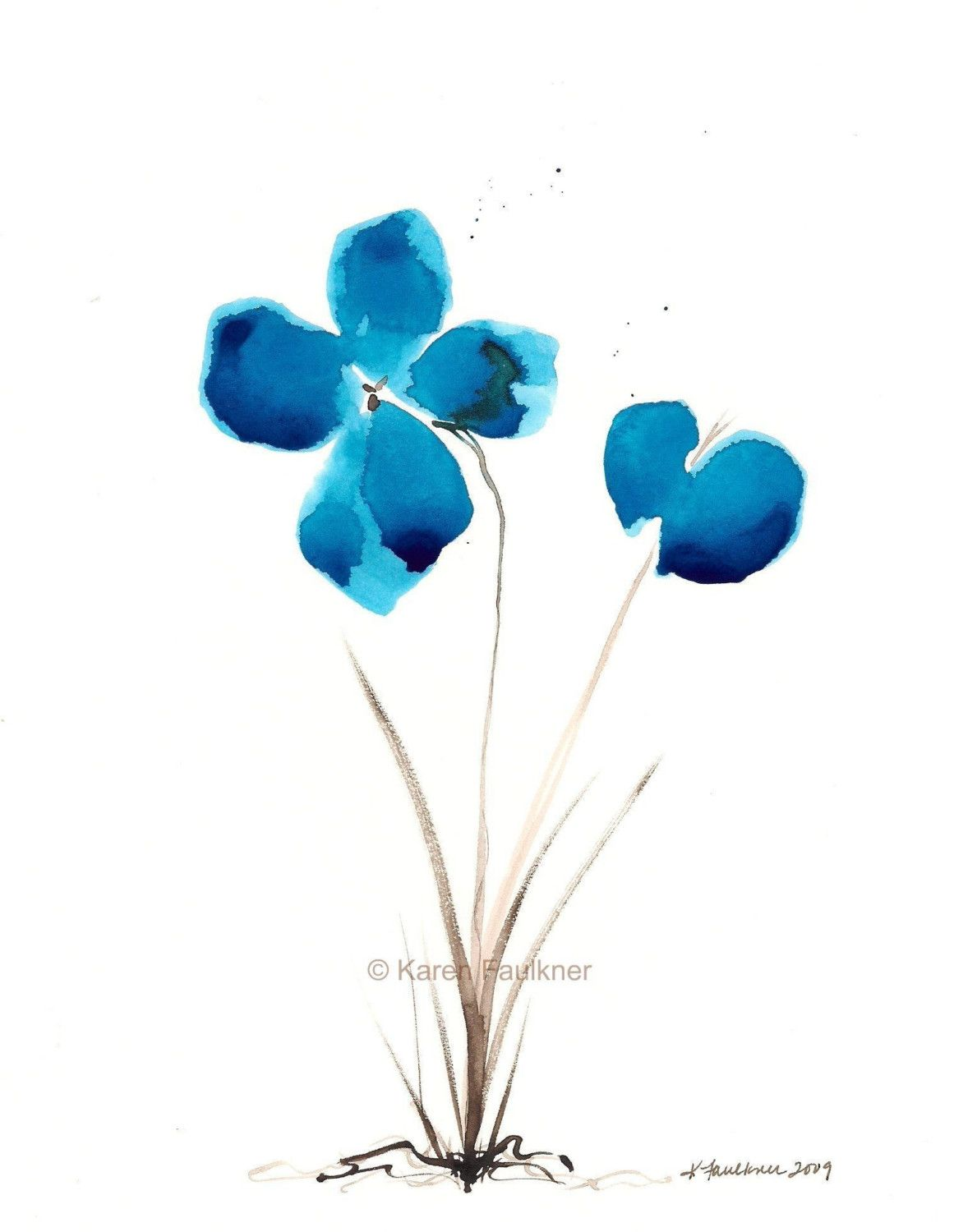 Simple watercolor flower paintings