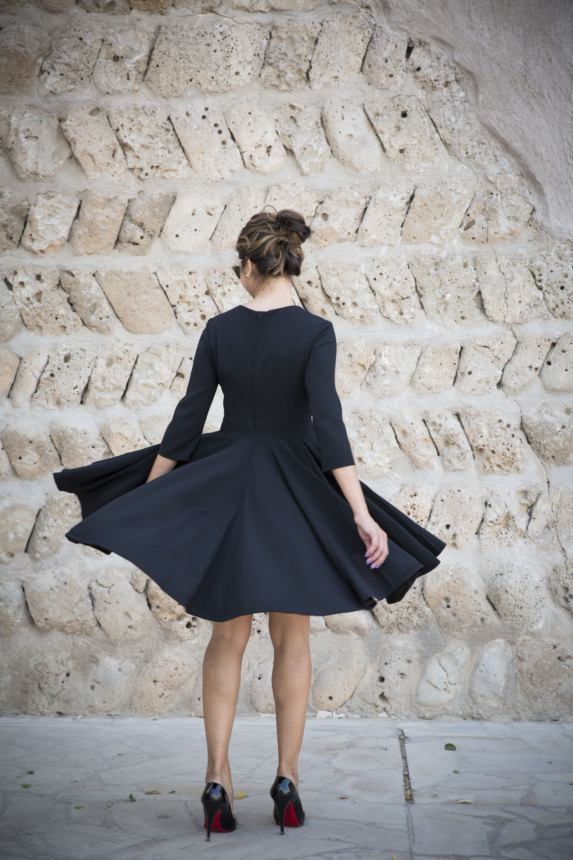 black ASOS skater dress