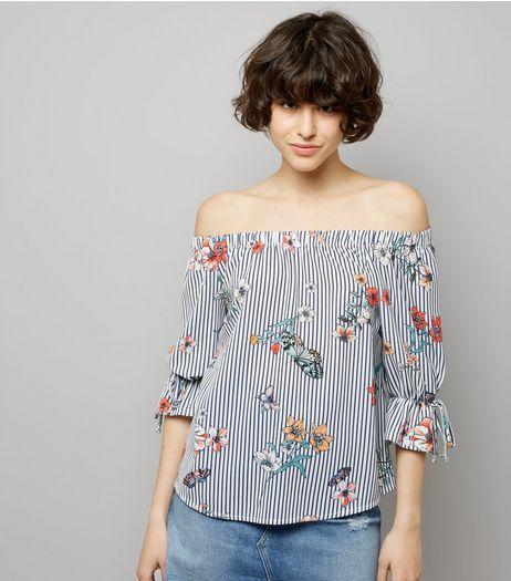 b7065e8f46fa4 White Stripe Floral Print Bardot Neck Top