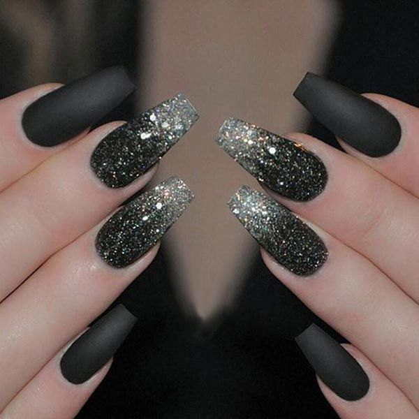 Sparkling silver and black nail art More - 50 Sassy Black Nail Art Designs To Envy Sexy Coffin Nails