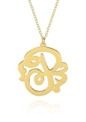 Co 10k Yellow Gold P Monogram Necklace Sterling Silver Monogram Necklace Silver Ring Designs