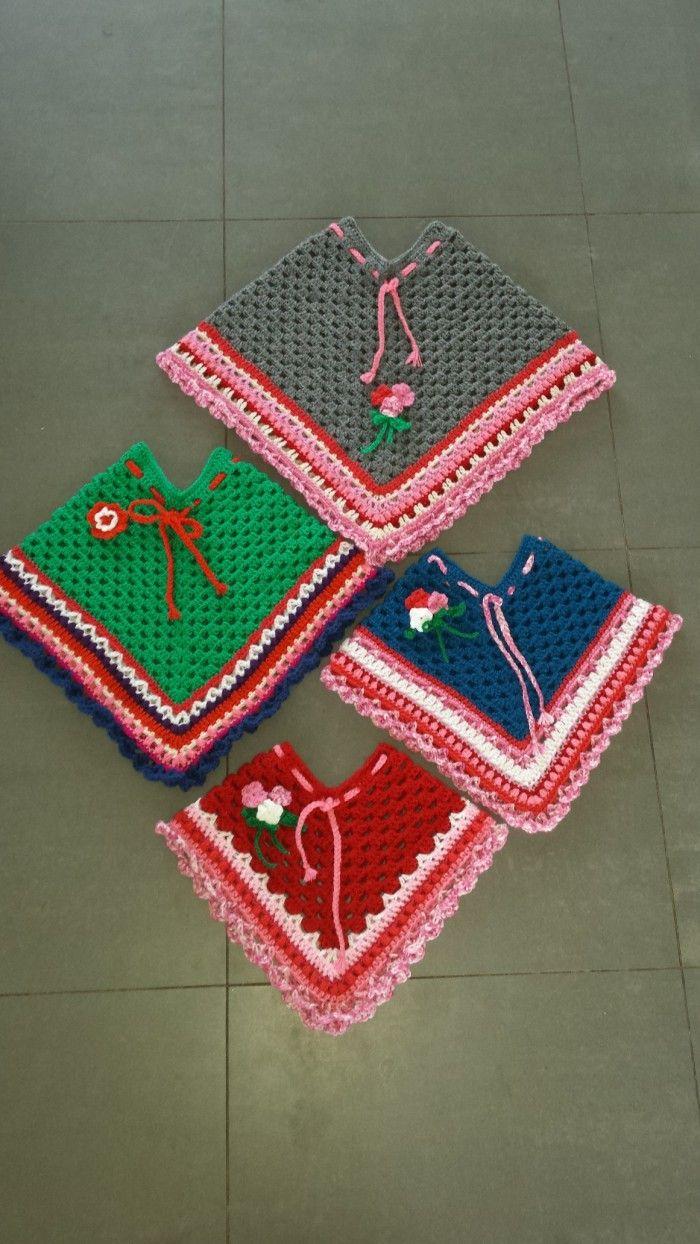 Gratis haakpatroon voor een baby en kinder poncho. Op mijn blog ...