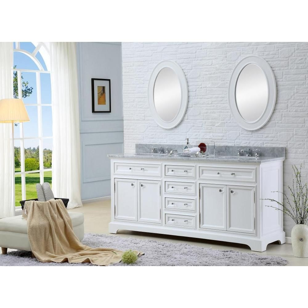 Water Creation Derby 60W 60-inch Solid White Double Sink Bathroom ...