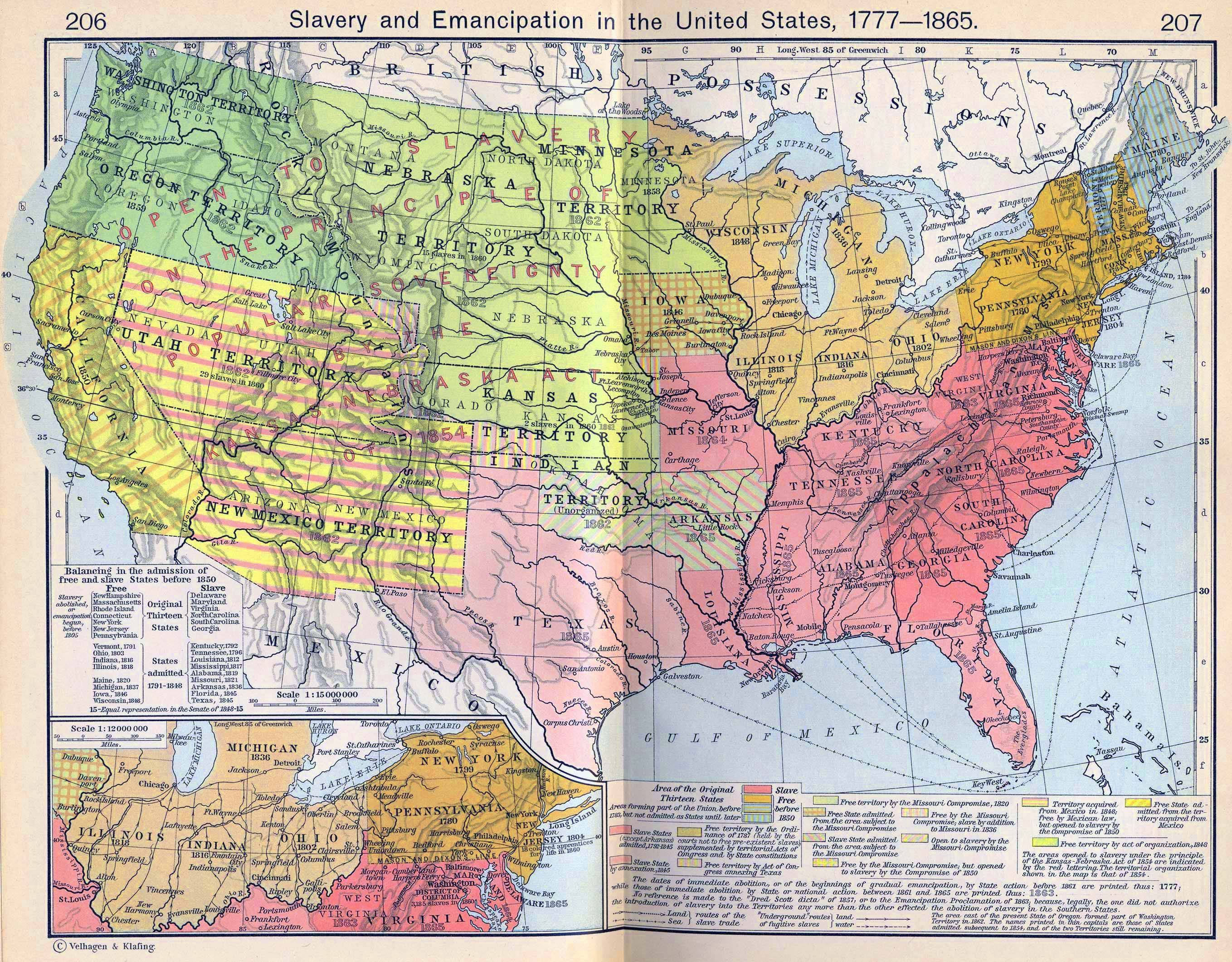 Map Of The United States Slavery And