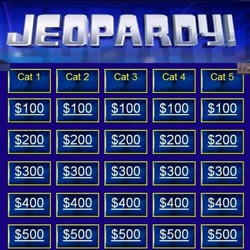 Jeopardy Blank Template Template, Teacher pay teachers and - blank jeopardy template