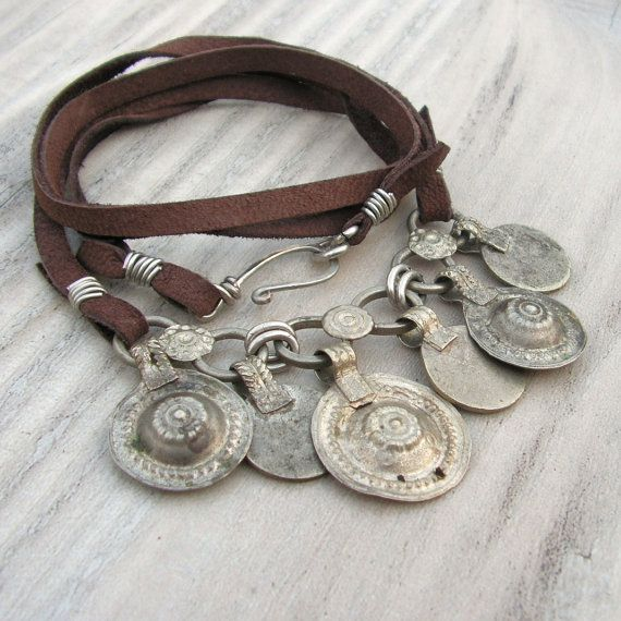 Long Banjara necklace - Brown Leather and Gypsy Charms