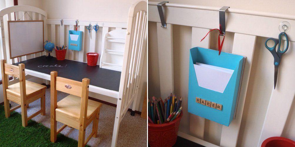 detalles de la cuna convertida en un escritorio para nios