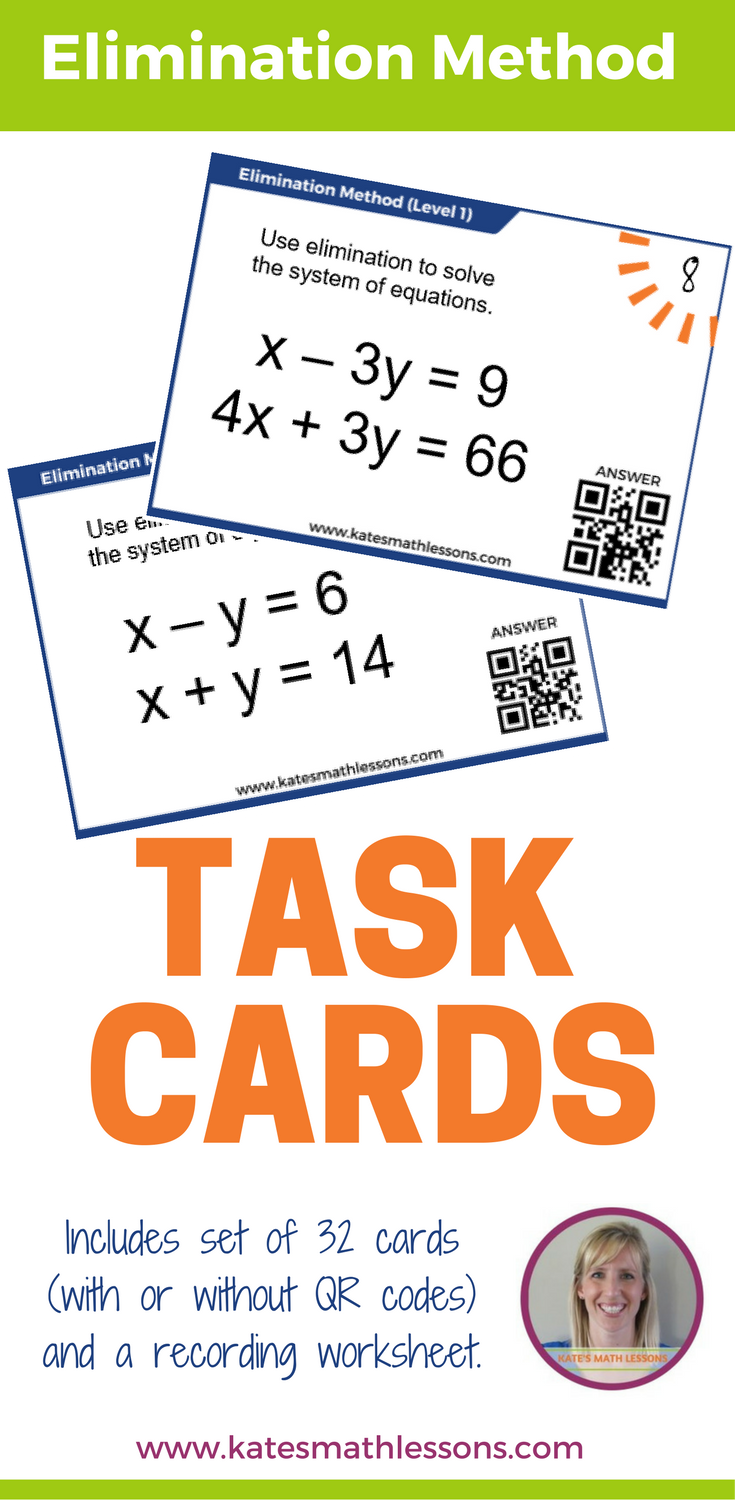 Solving Systems with Elimination Task Cards Task cards
