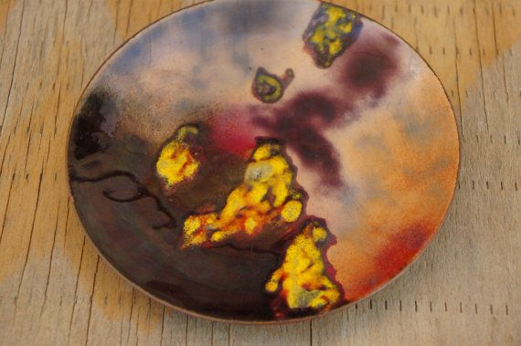 Vintage 50s-60s Signed Enamel Plate Retro Mid by SycamoreVintage