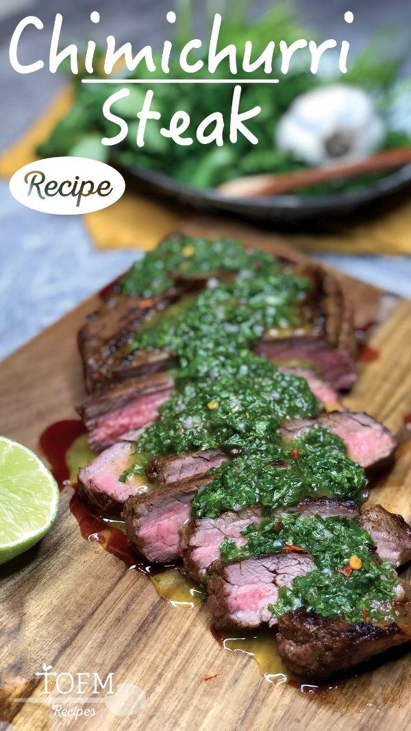 Seared Steak with Chimichurri Sauce Recipe #recipesforflanksteak