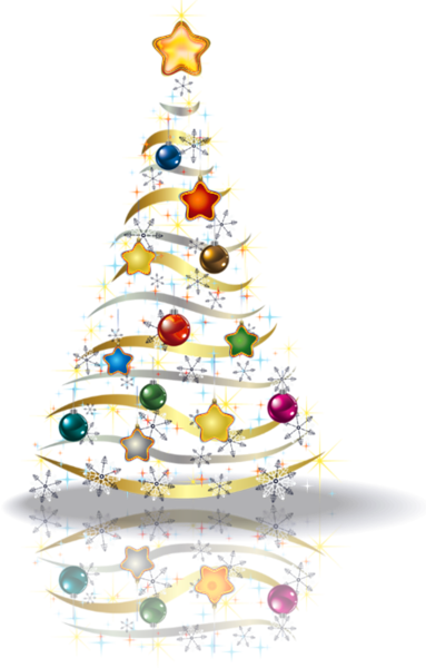 Transparent Christmas Gold Tree PNG Picture