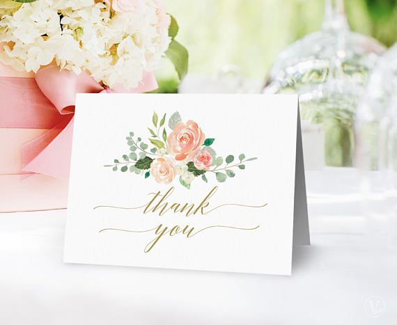 Peach Blush Floral Wedding Thank You Card Template Printable