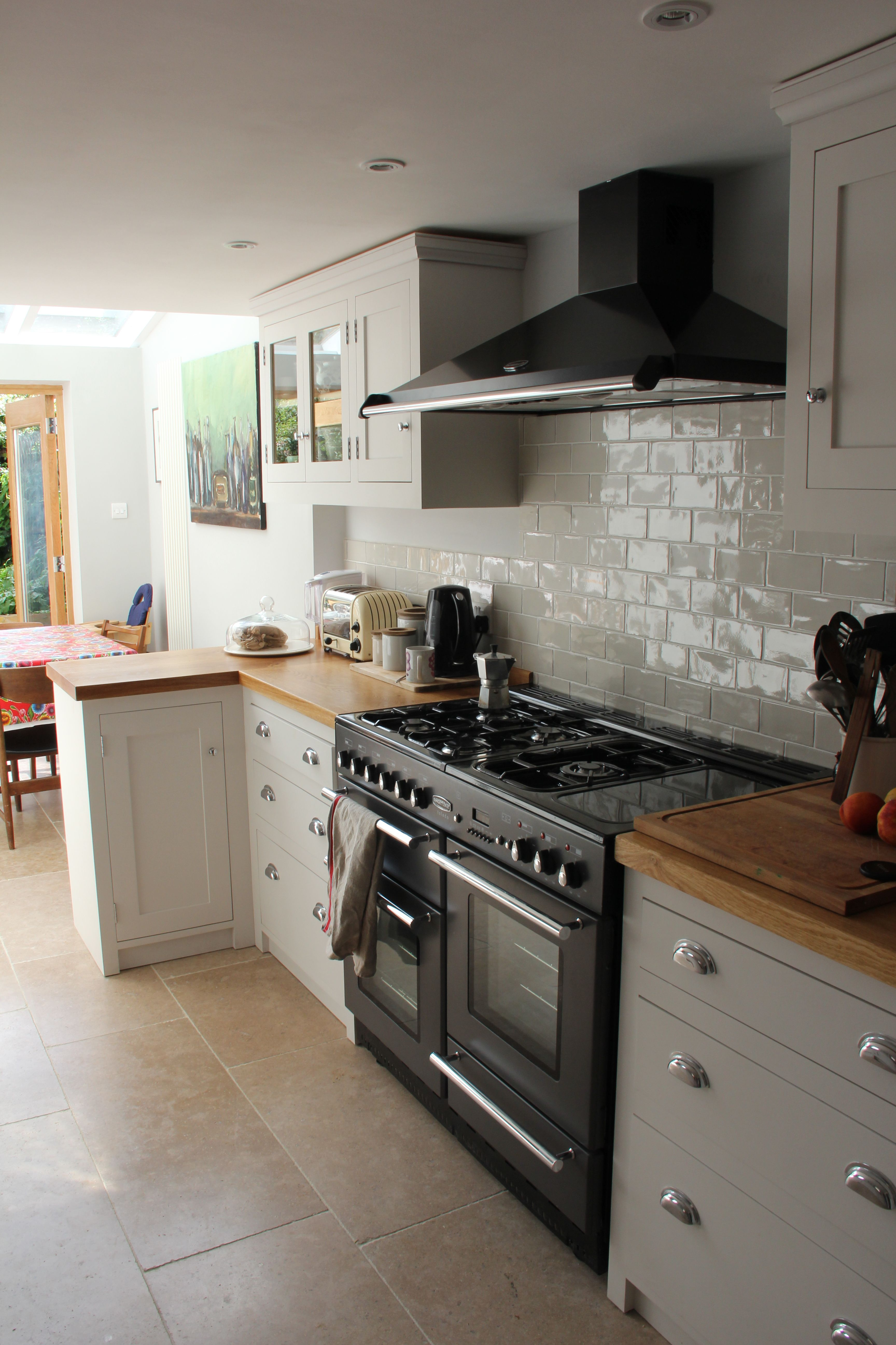 Rangemaster Toledo 110 In Gunmetal With The Matching Hood Tiles From Topps Tiles Chic Range Apparentl Home Kitchens Farmhouse Kitchen Design Kitchen Design