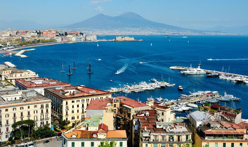 The Bay of Naples with mainland Europes' only active volcano, Vesuvius, in the background.