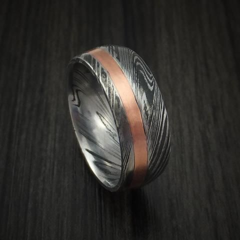 Kuro Damascus Steel and Copper Ring Wedding Band Custom Made