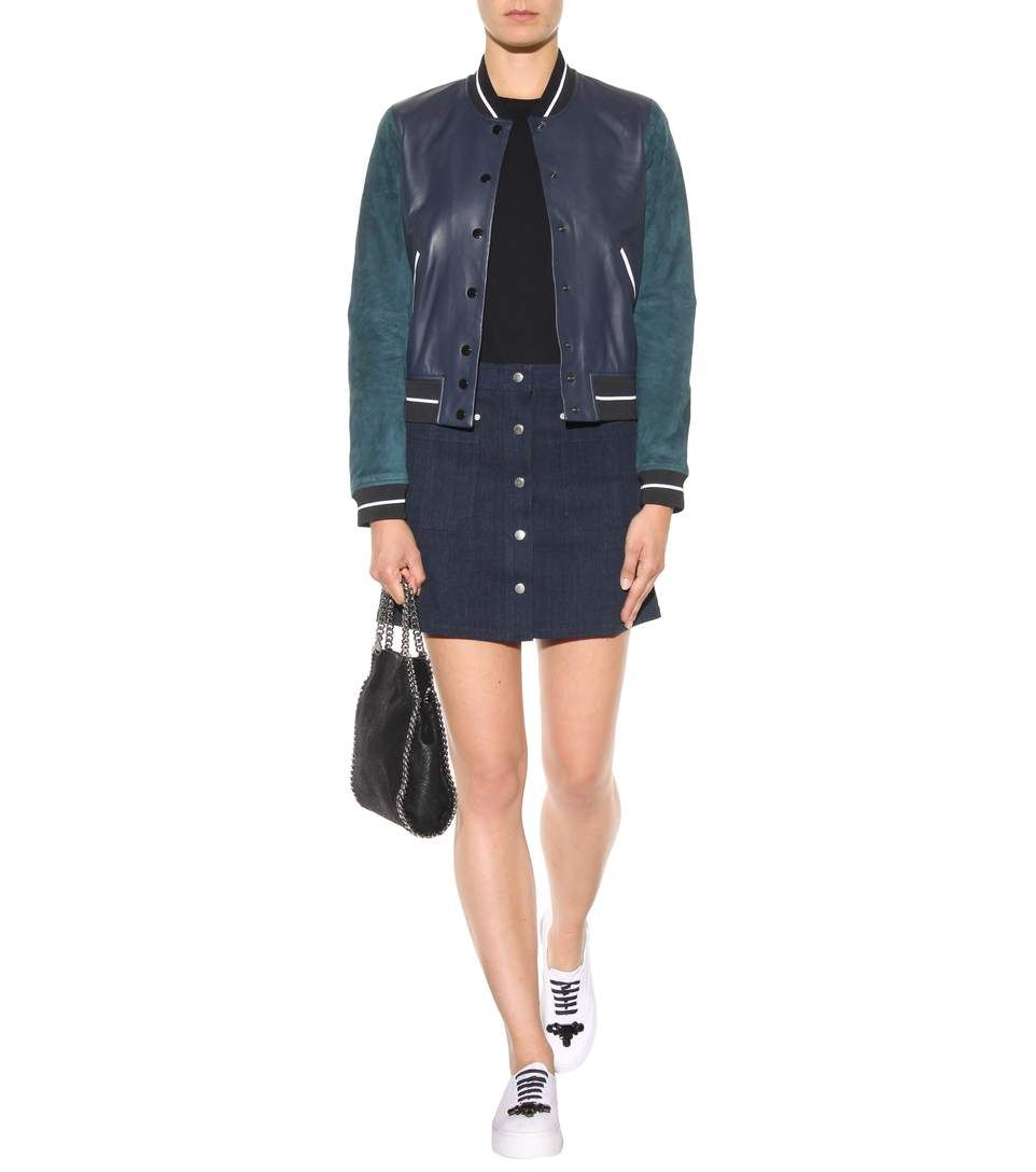 Rag   Bone - Veste bomber bleue en cuir et daim   What I like this ... 84ac25e776a4
